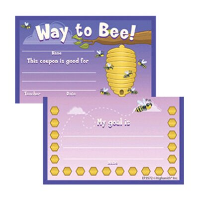 Edupress Punch Card Awards Way To Bee