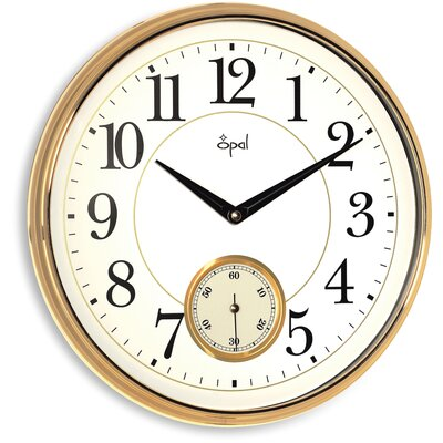 Opal Luxury Time Products Opal Wall Clock with Arabic Numerals in Gold