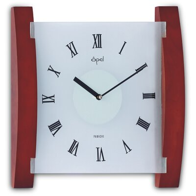 Opal Luxury Time Products Opal Wood and Frosted Glass Clock in Dark Wood