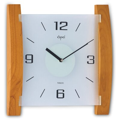 Opal Wood and Frosted Glass Clock in Natural Wood