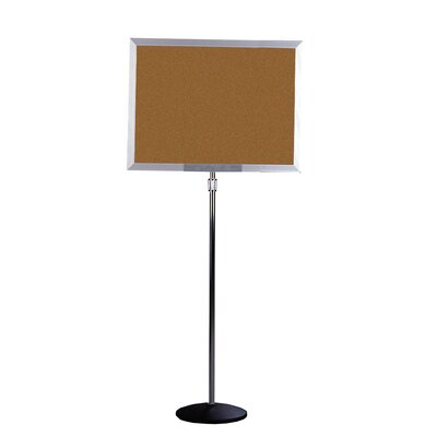 "Ghent 18"" x 24"" Pedestal Open Face Natural Cork Board"
