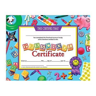 Hayes School Publishing Certificates Preschool 30-set