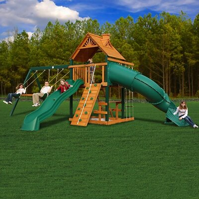 Gorilla Playsets Mountaineer Swing Set with Wood Roof Canopy