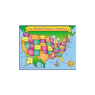 Teachers Friend Usa Map Friendly Chart 17x22