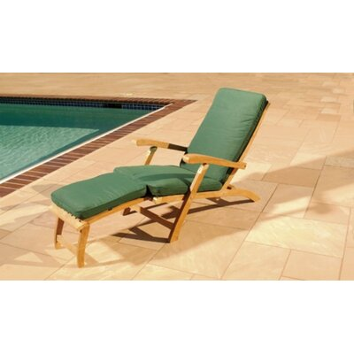 Royal Teak by Lanza Products Teakwood Steamer Lounge Chair with Cushion