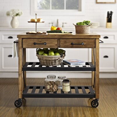 Crosley Roots Rack Kitchen Cart with Wood Top