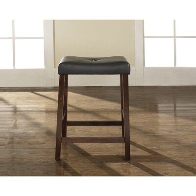 "Crosley Upholstered 24"" Saddle Seat Bar Stool in Vintage Mahogany Finish"