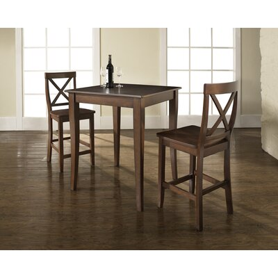 Three Piece Pub Dining Set with Cabriole Leg Table and X-Back Barstools in Vintage Mahogany ...