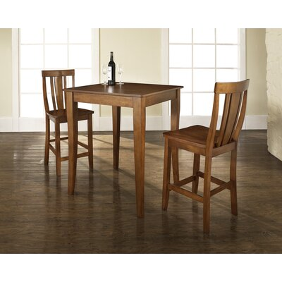 Crosley Three Piece Pub Dining Set with Cabriole Leg Table and Shield Back Barstools in Classic Cherry