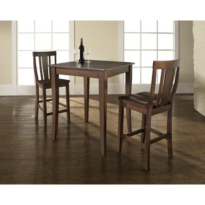 Crosley Three Piece Pub Dining Set with Cabriole Leg Table and Shield Back Barstools in Vintage Mahogany