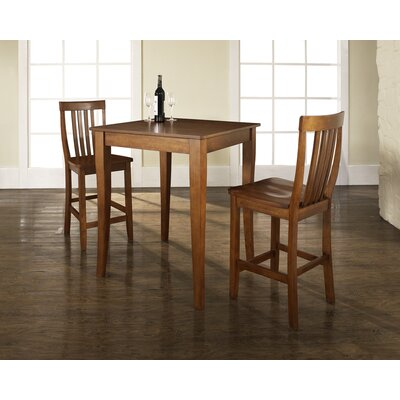 Crosley Three Piece Pub Dining Set with Cabriole Leg Table and Barstools in Classic Cherry