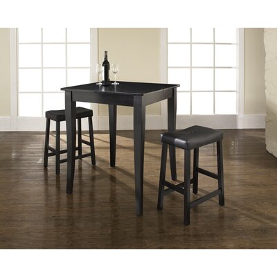 Crosley Three Piece Pub Dining Set with Cabriole Leg Table and Saddle Seat Barstools in Black