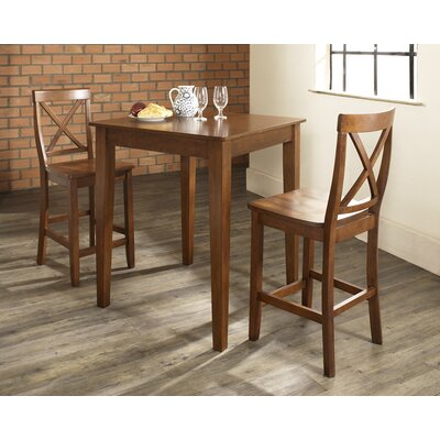 Three Piece Pub Dining Set with Tapered Leg Table and X-Back Barstools in Classic Cherry ...