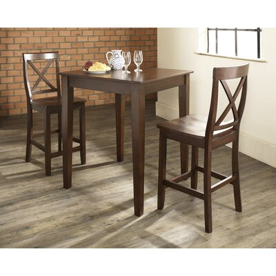Three Piece Pub Dining Set with Tapered Leg Table and X-Back Barstools in Vintage Mahogany ...