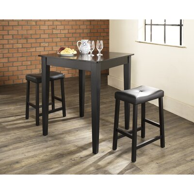 Crosley Three Piece Pub Dining Set with Tapered Leg Table and Saddle Seat Barstools in Black