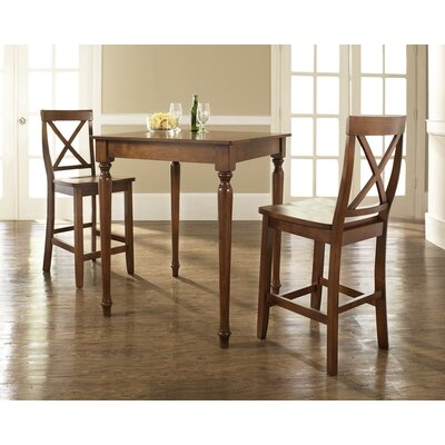 Crosley Three Piece Pub Dining Set with Turned Leg Table and X-Back Barstools in Classic Cherry
