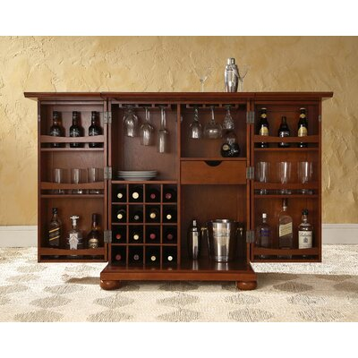 Crosley Alexandria Expandable Bar Cabinet in Classic Cherry