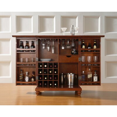 Crosley Cambridge Expandable Bar Cabinet in Classic Cherry