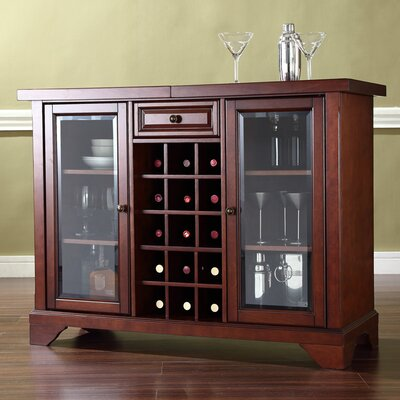 LaFayette Sliding Top Bar Cabinet in Vintage Mahogany