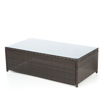 Crosley palm harbor outdoor wicker glass top coffee table for Wayfair glass top coffee table