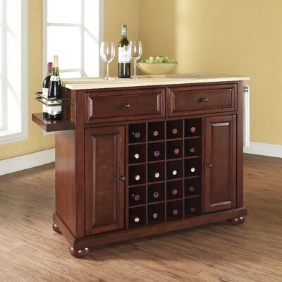 Alexandria Kitchen Island with Wood Top