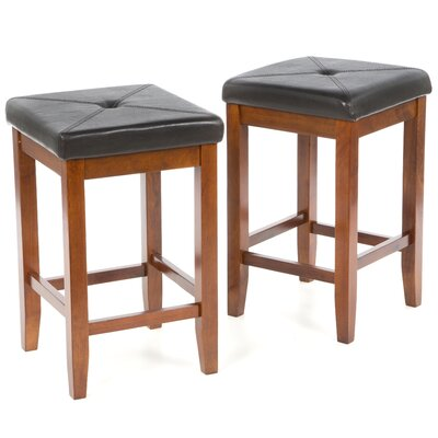 "Crosley Upholstered Square Seat 24"" Barstool in Classic Cherry"