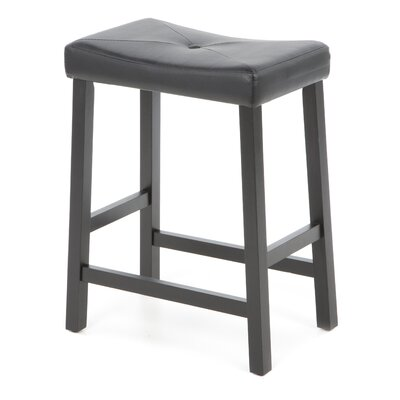 "Crosley Upholstered 24"" Saddle Seat Bar Stool in Black Finish"