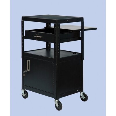 VTI Wide Body Adjustable Equipment TV Cart with Cabinet