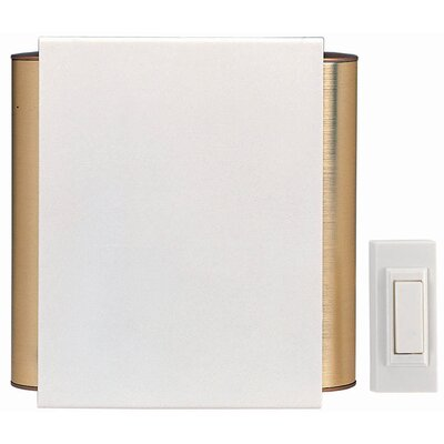 Heath-Zenith Wireless Battery Operated Door Chime Kit with Off-White Cover and Satin Brass Tubes