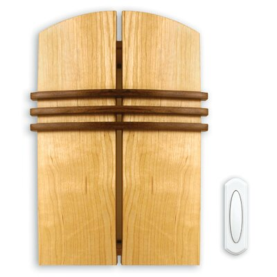 Wireless Battery Operated Door Chime Kit with Solid Birch Wood Cover