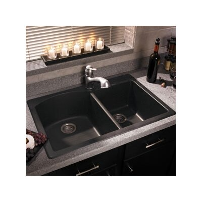 "Swanstone Swanstone Classics 33"" x 22"" Double Bowl Kitchen Sink"