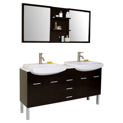 "Fresca Stella 59"" Vetta Modern Double Sink Bathroom Vanity Set with Mirror"