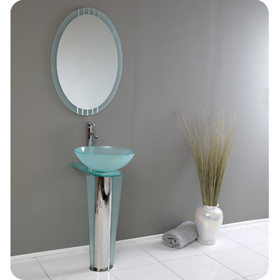 Fresca Vitale Modern Glass Bathroom Vanity with Mirror
