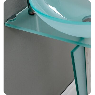 "Fresca Vetro 16.5"" Vitale Modern Glass Bathroom Vanity Set with Mirror"