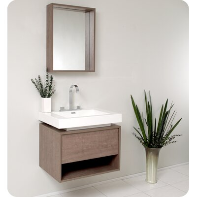 Fresca Fresca Potenza Gray Oak Modern Bathroom Vanity with Mirror and Pop Open Drawer