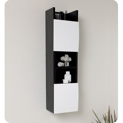 Fresca Wenge Wood Finish Bathroom Linen Cabinet with White Doors
