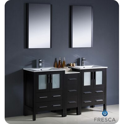 "Fresca Torino 60"" Modern Double Sink Bathroom Vanity Set with Side Cabinet and Undermount Sinks"