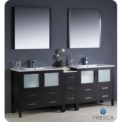 "Fresca Torino 84"" Modern Double Sink Bathroom Vanity Set with Side Cabinet and Undermount Sinks"