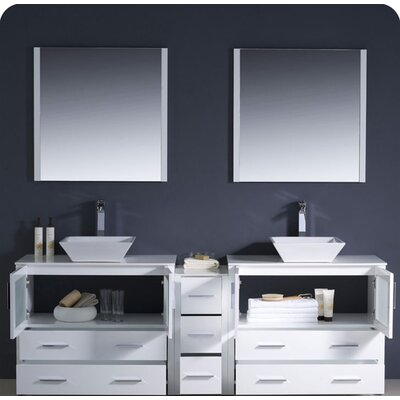 "Fresca Torino 84"" Modern Double Sink Bathroom Vanity Set with Side Cabinet and Vessel Sinks"