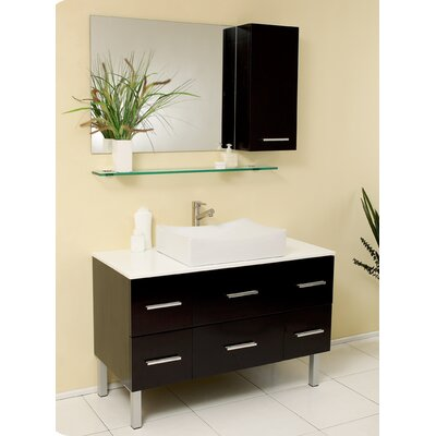 "Fresca Stella 43.25"" Distante Modern Bathroom Vanity Set with Mirror and Side Cabinet"