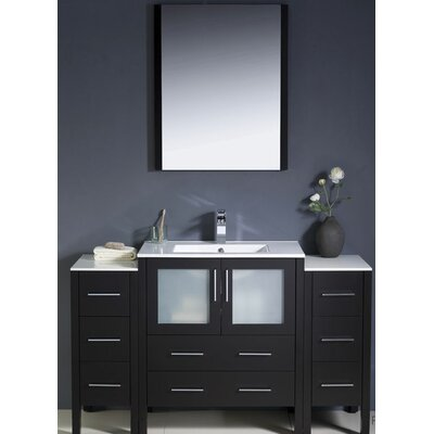 "Fresca Torino 54"" Modern Bathroom Vanity Set with 2 Side Cabinets and Undermount Sink"