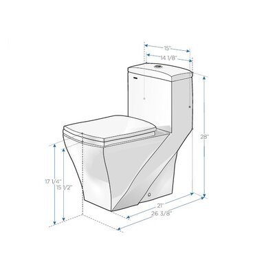 Fresca Salerno Dual Flush Elongated 1 Piece Toilet