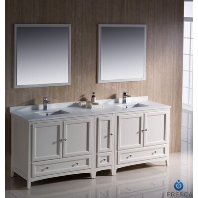 Oxford 84 Double Traditional Bathroom Vanity Set With Mirror Wayfair