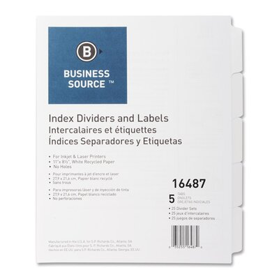 Business Source Index Dividers, Unpunched, 8-Tab, 25 Sets per Box, White