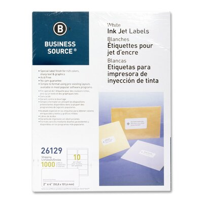"""Business Source Mailing Labels, Shipping, Inkjet, 2""""x4"""", 1000 per Pack, White"""