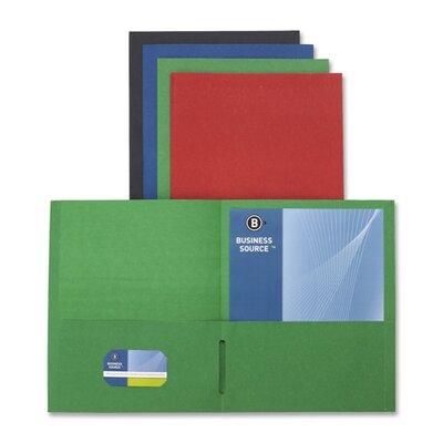 "Business Source 2-Pocket Folders, 125 Sh. Cap., 11""x8-1/2"", 25 per Box, Red"