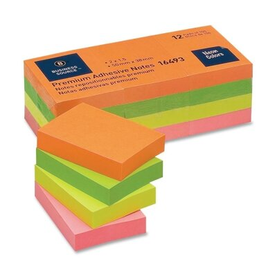 "Business Source Adhesive Notes,Plain,1-1/2""x2"",100 Sheets per Pad,12 Pads per Pack,Neon"