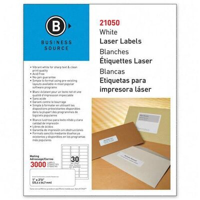 "Business Source Mailing Label, Laser, 1""x2-5/8"", 3000 per Pack, White"