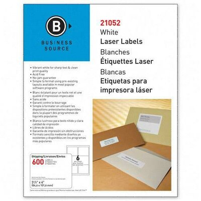 "Business Source Mailing Label, Laser, 3-1/3""x4"", 600 per Pack, White"