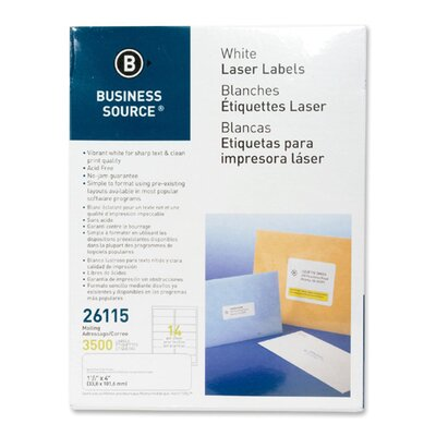 "Business Source Mailing Labels, Laser, 1-1/3""x4"", 3500 per Pack, White"